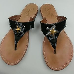 Juno S.G. starfish flip flop leather thong sandals